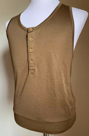 New $350 Bottega Veneta Men Silk/Cotton Tank Top T Shirt Camel M-L US ( 52 Eu )