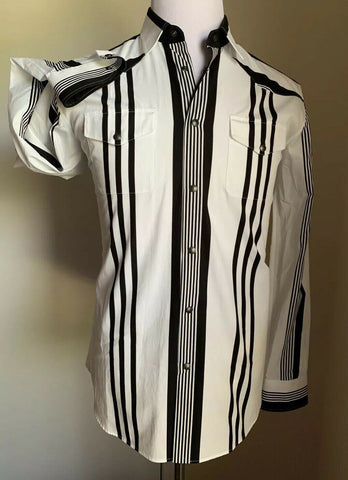 NWT 890 Bottega Veneta Mens Dress Shirt Black/White 40/15 3/4 Italy
