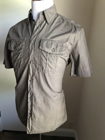 NWT $390 Bottega Veneta Mens Short Sleeve Shirt Charcoal 42/16.5 Italy