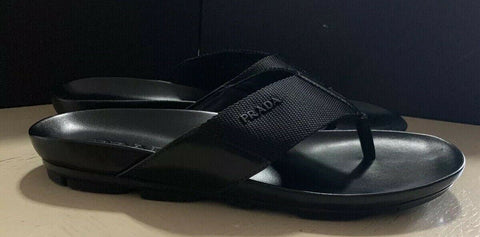 NIB $550 PRADA Men Leather/Canvas Sandal Shoes Black 8.5 US/7.5 UK
