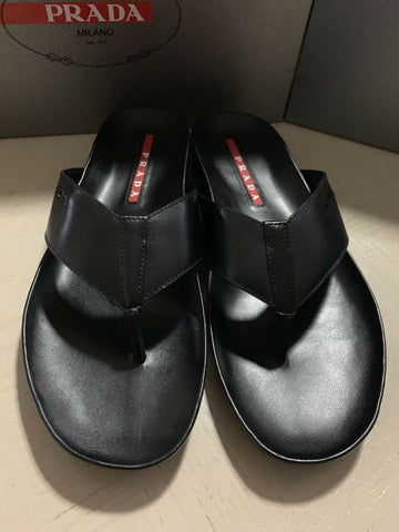 NIB $585 PRADA Men Leather Sandal Shoes Black 8 8 US/7 UK