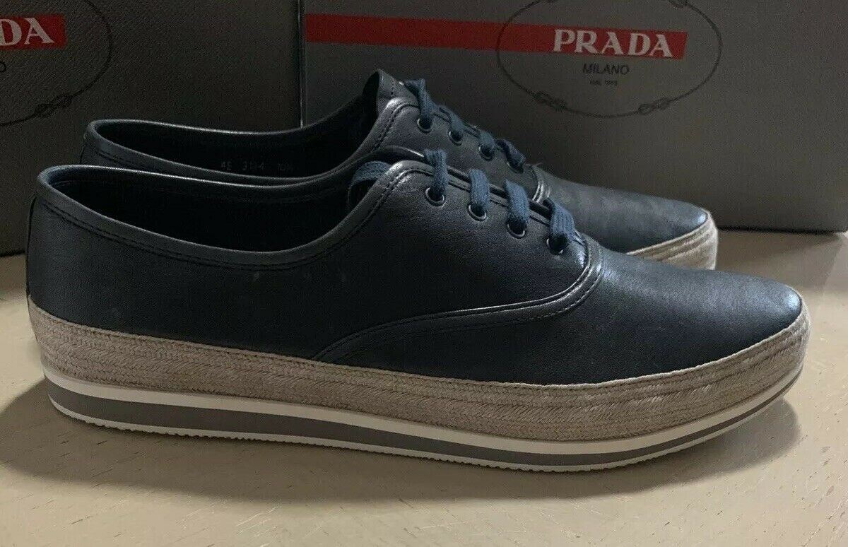 New $850 PRADA Mens Leather Espadrille Shoes Color Baltico 10.5 US