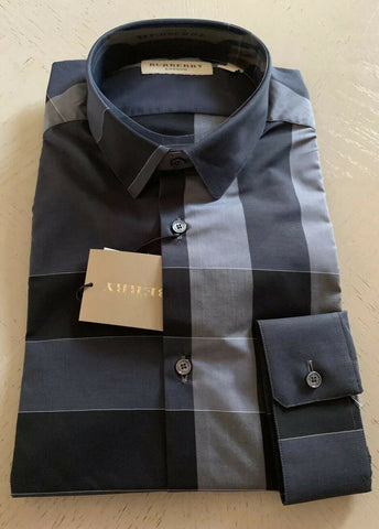 NWT Burberry London Mens Dress Shirt Dark Gray Size M