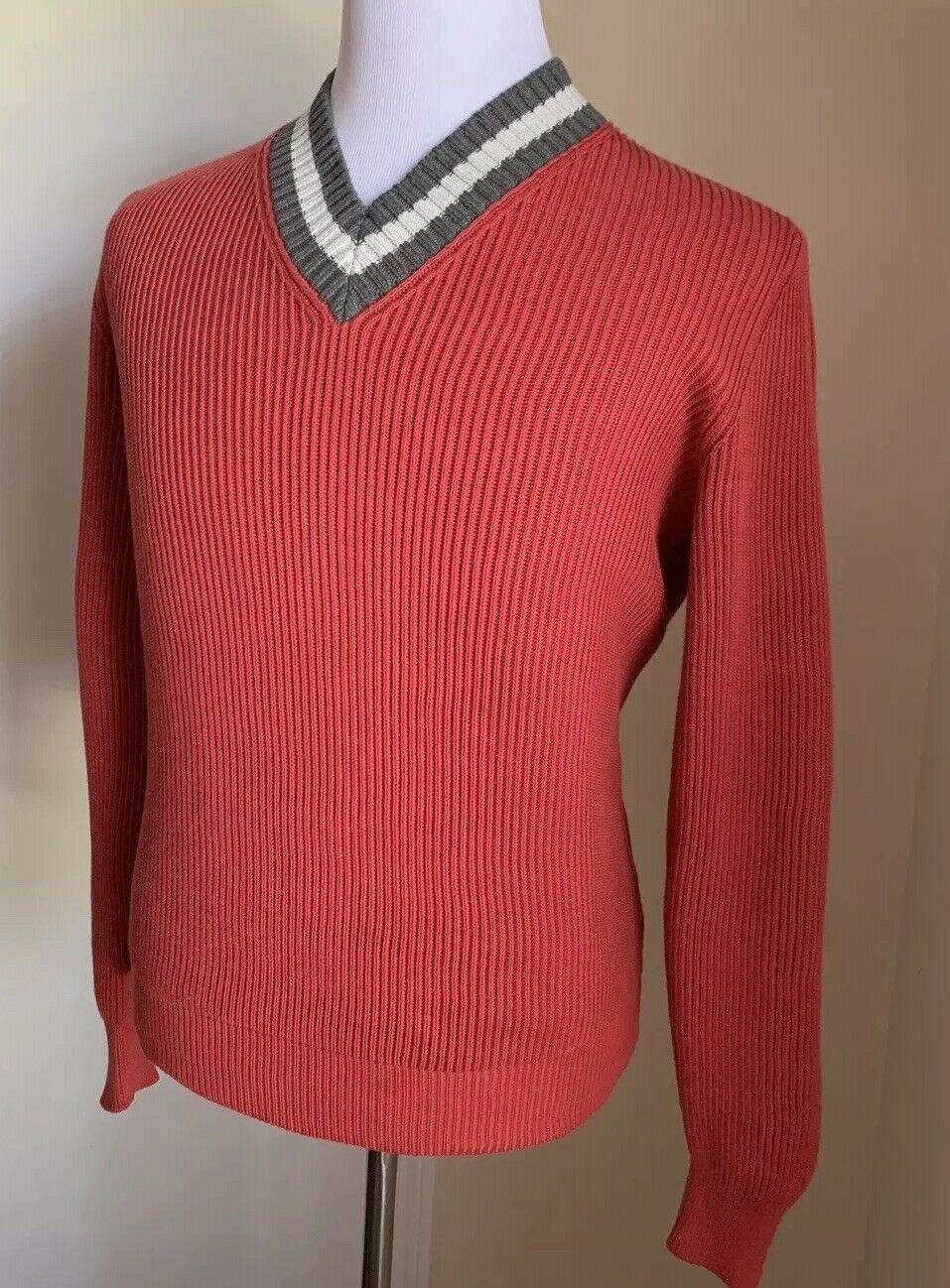 New $845 Brunello Cucinelli Men V-Neck Sweater Strawberry Red M ( 48 Eu ) Italy