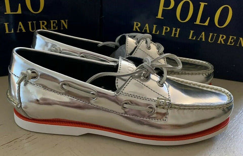 New Polo Ralph Lauren Mens Leather Shoes Silver 9.5 US