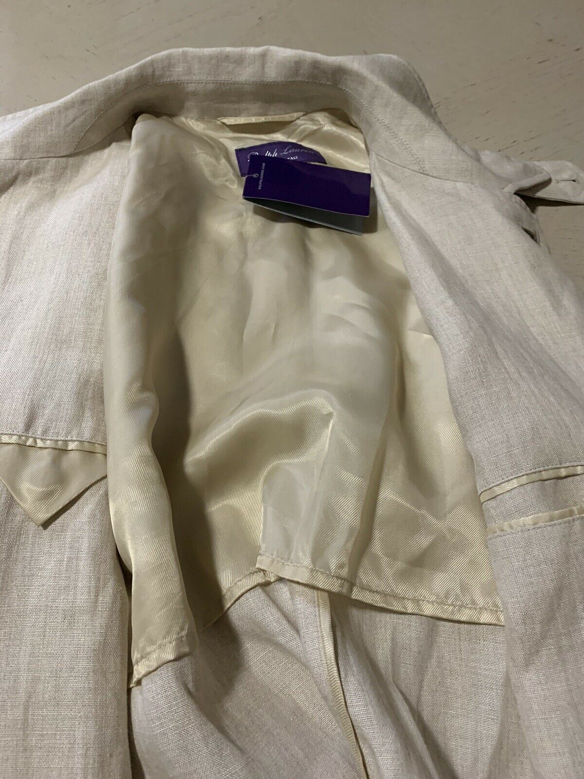 New$1995 Ralph Lauren Purple Label Men 100% Linen Trench Coat Cream 42L US Italy