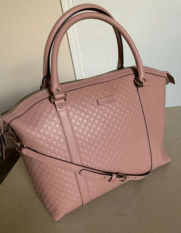 New Gucci Leather Micro Guccissima Large Dome tote Crossbody Bag Pink
