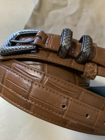 New $3150 Bottega Veneta Mens Crocodile Belt 509419 Brown 105/42 Italy