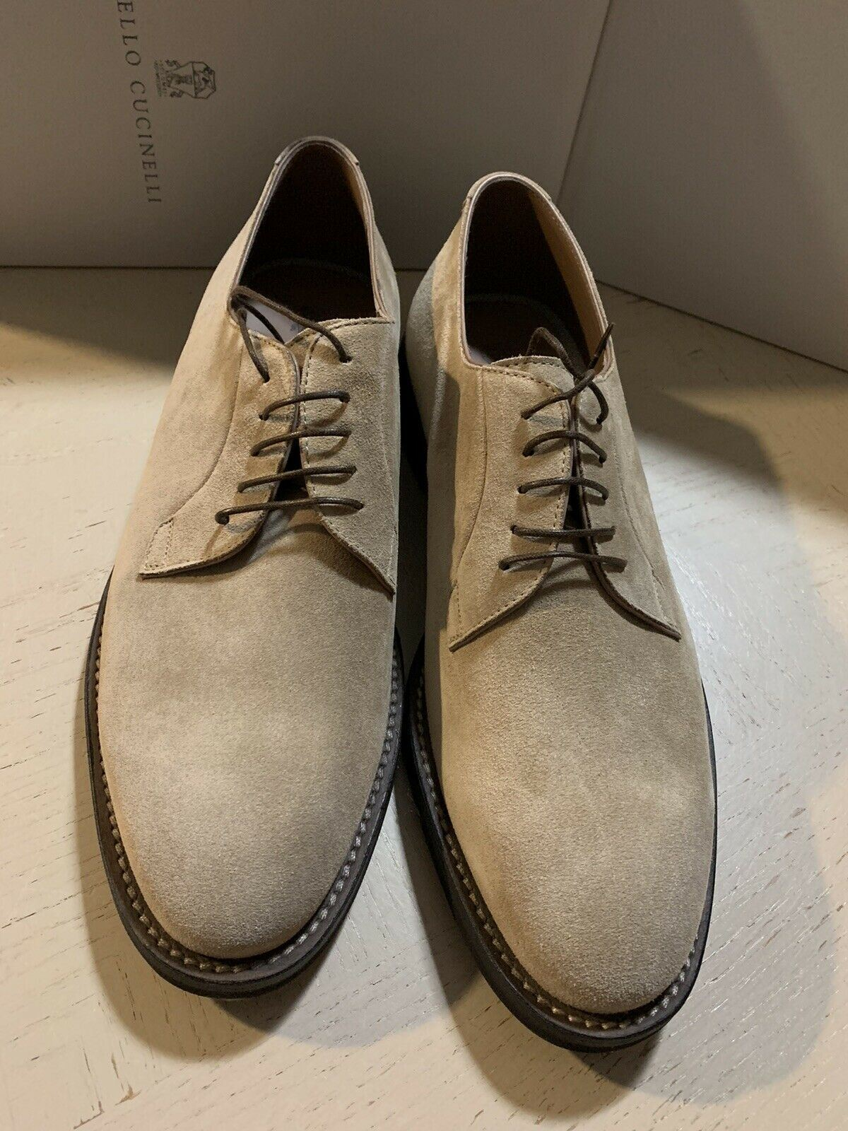 New $845 Brunello Cucinelli Men Suede Shoes Brown 9 US ( 42 Eu )