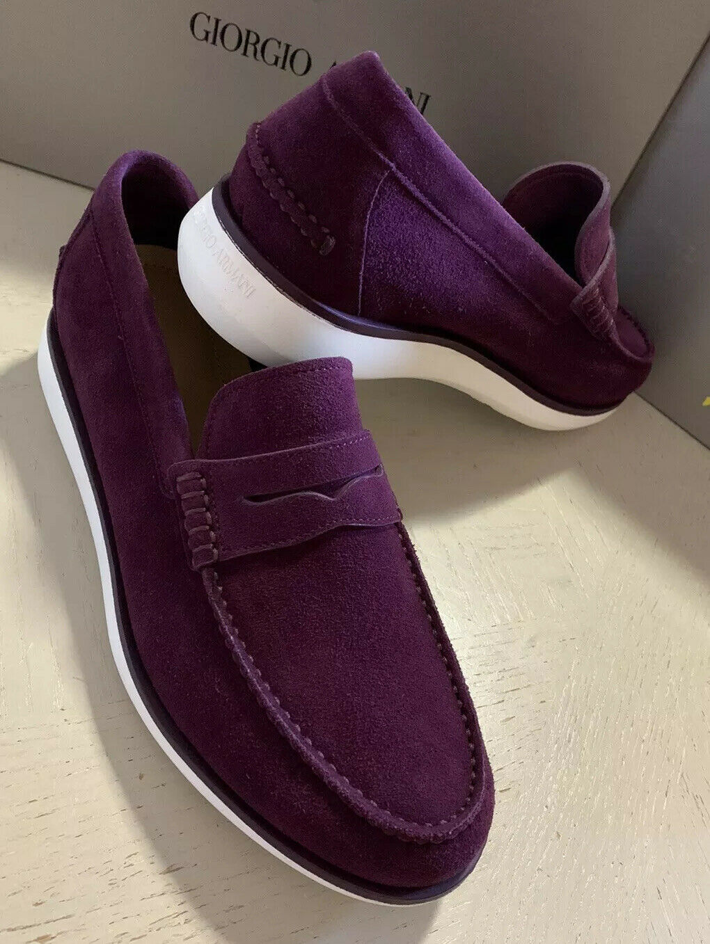 New $925 Giorgio Armani Mens Suede Loafers Shoes Burgundy 12 US /11 UK X2A321