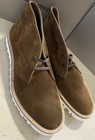 New $695 Giorgio Armani Mens Suede Boot Shoes Brown 12.5 US/11.5 UK X2M268