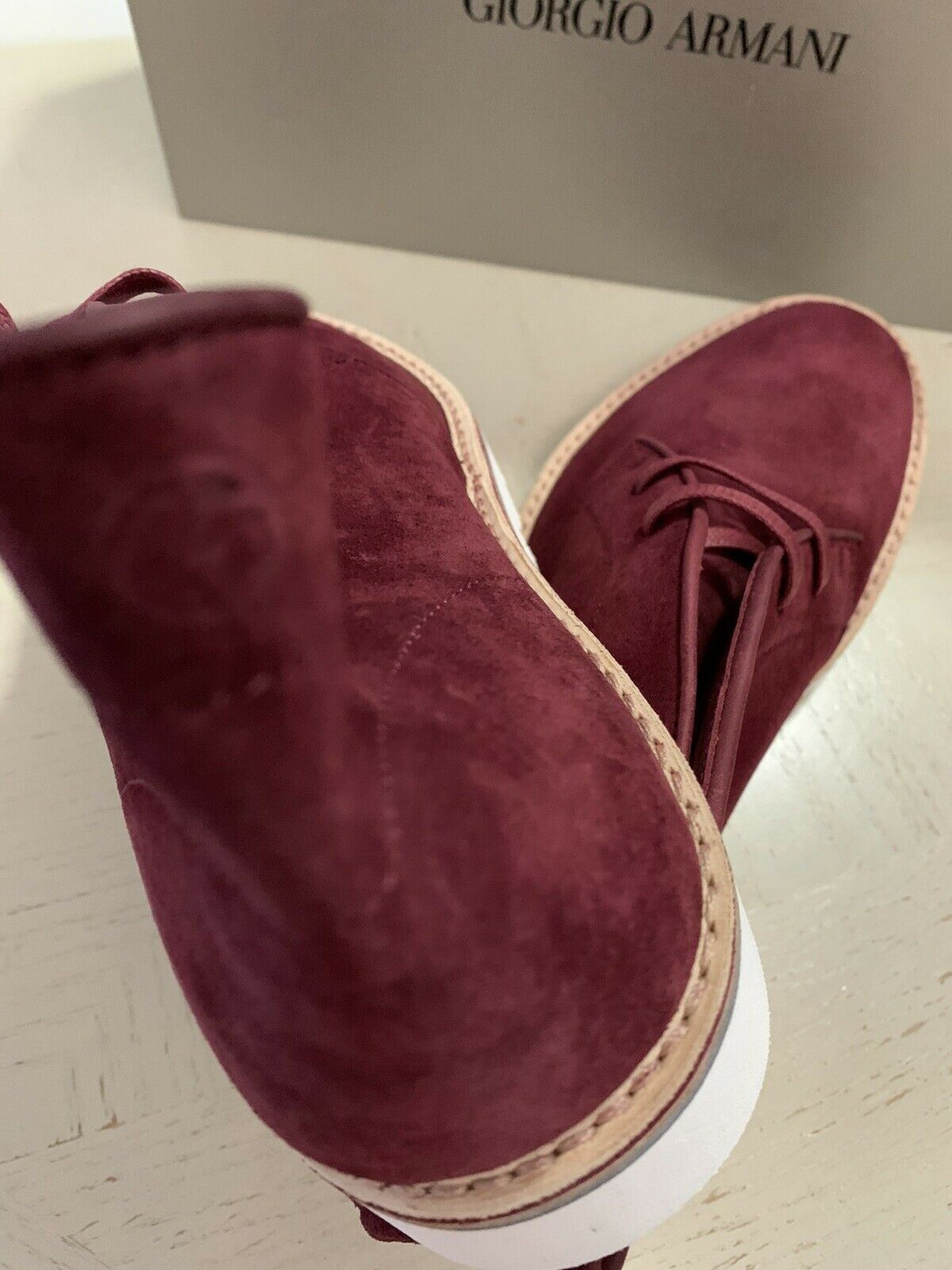 New $695 Giorgio Armani Mens Suede Boot Shoes Burgundy 11.5 US/10.5 UK X2M268