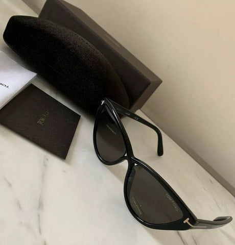New $430 Tom Ford Charlie-02 TF 740 Womens Sunglasses Black 56/16/140 Polarized