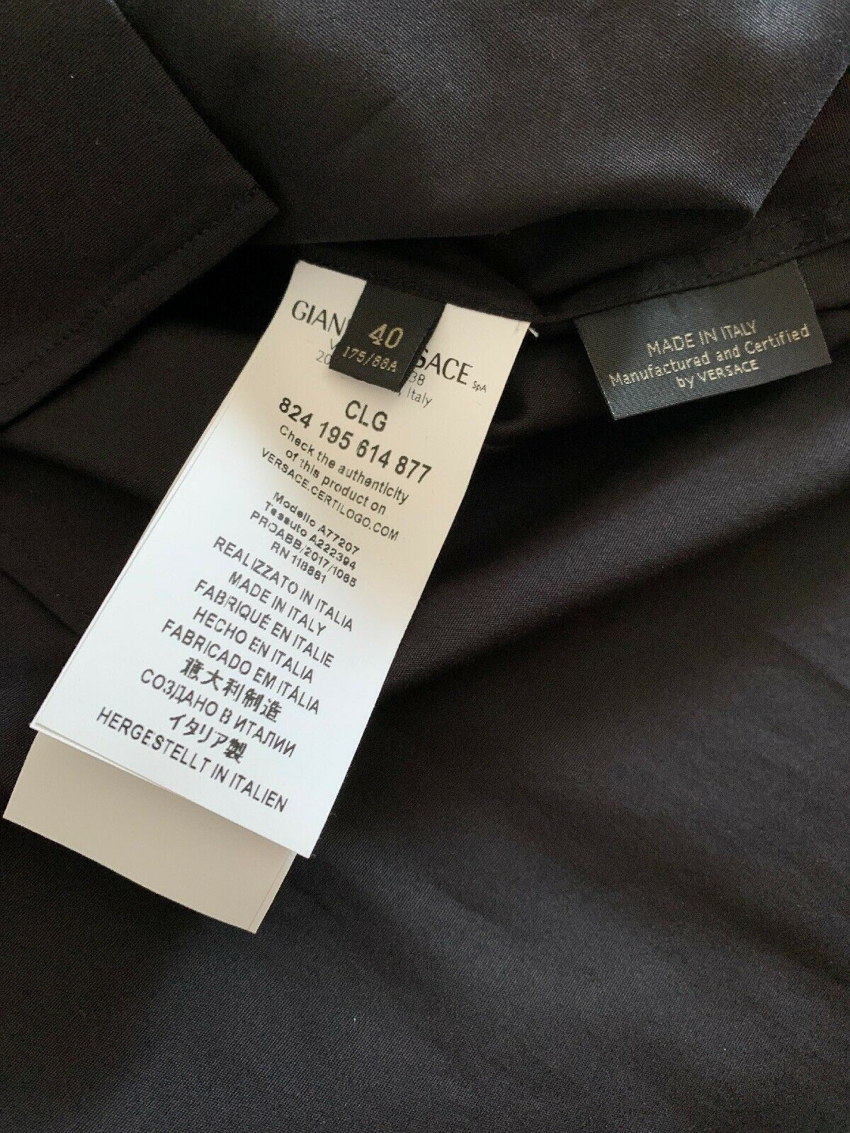 NWT $600 Versace Mens Dress Shirt Black Size 40/15.5 Italy