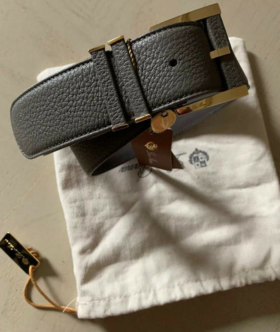New $795 Loro Piana 100% Dyed Calf Leather Unisex Belt Gray 32/80 Italy