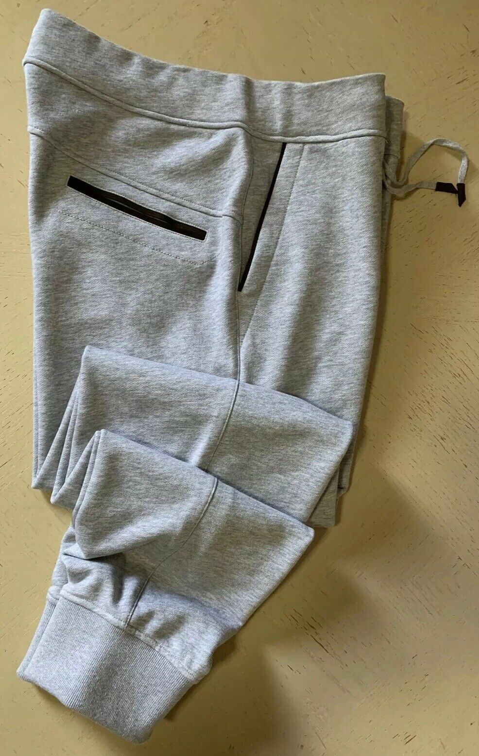NWT $495 Ermenegildo Zegna Matching Leather Sweat Pants LT Gray 32 US ( 48 Eu )