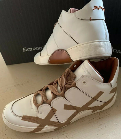 New $995 Ermenegildo Zegna Couture Leather High Top Sneakers White/Brown 12 US
