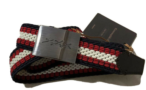 New $425 Ermenegildo Zegna Belt Blue/White/Red 32/85 Italy