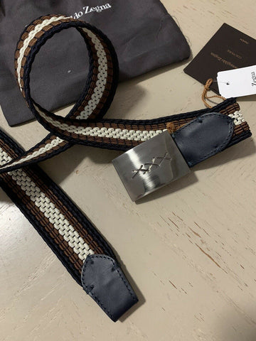 New $425 Ermenegildo Zegna Belt Brown/Blue/White/Black 36/95 Italy