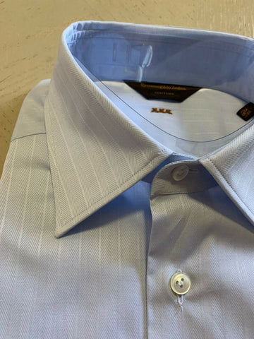 NWT $595 Ermenegildo  Zegna Couture Dress Shirt LT Blue 39/15.5 Made in Italy