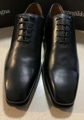 New $1395 Ermenegildo Zegna Couture Oxford Leather Shoes Black 11 US Italy