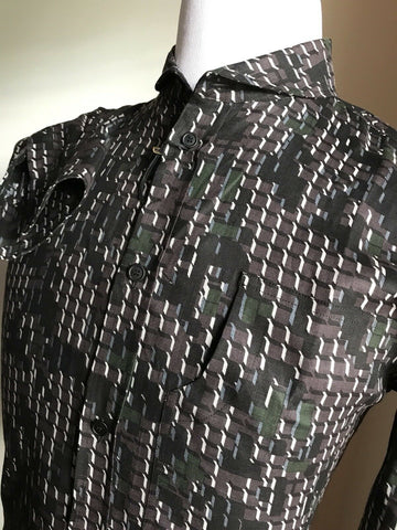 NWT $790 Bottega Veneta Linen Dress Shirt Black-Anthracite S ( 48 Eu ) Italy