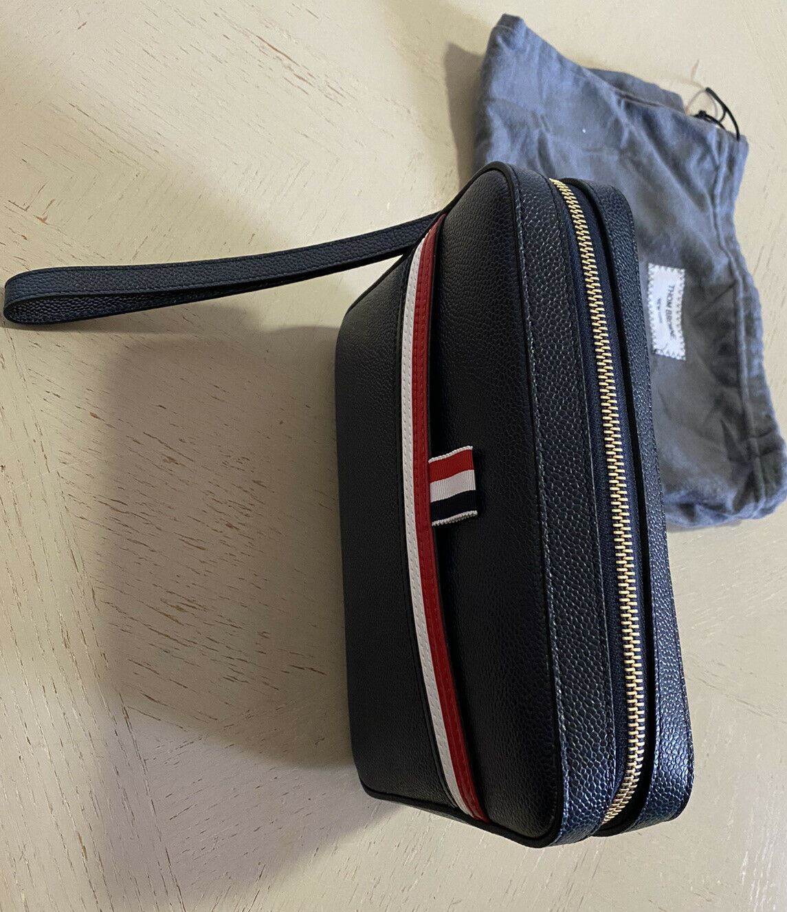 New $990 Thom Browne Men Stripe Detail Leather Toiletry Kit bag Italy