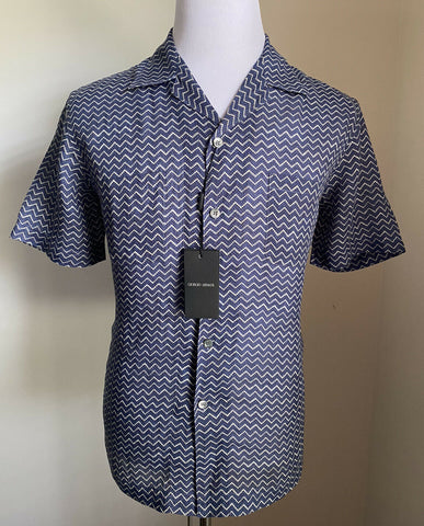 NWT $845 Giorgio Armani Mens Short Sleeve Shirt Blue 41/16 Italy
