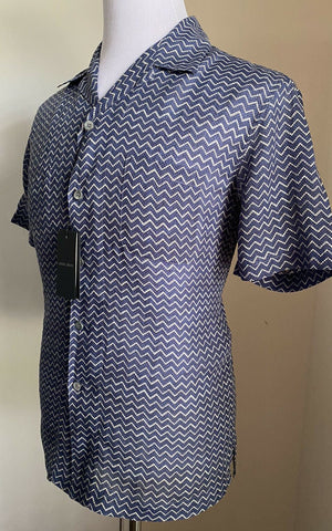 NWT $845 Giorgio Armani Mens Short Sleeve Shirt Blue 39/15.5 Italy