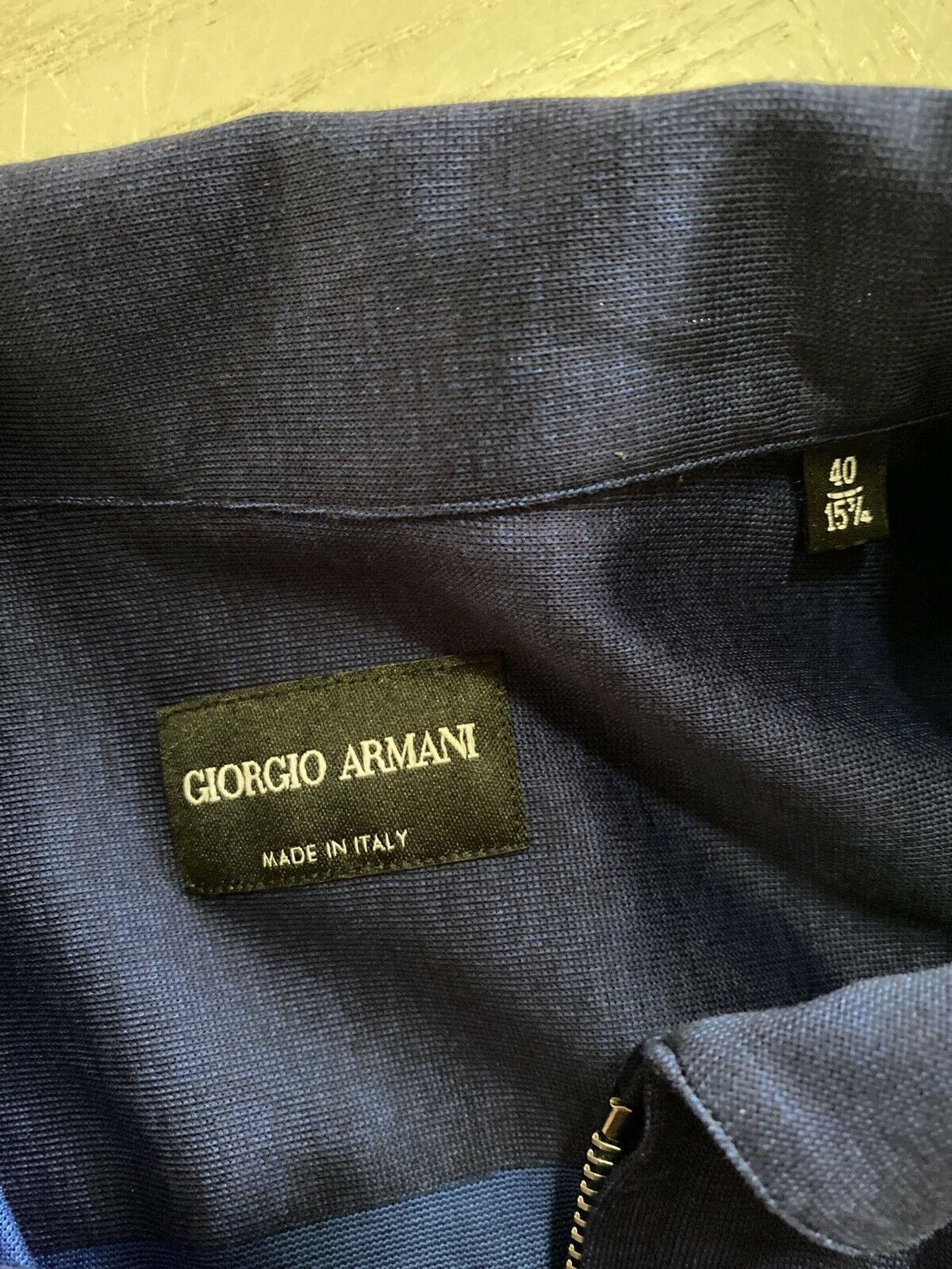 NWT $945 Giorgio Armani Mens Shirt Jacket Blue/Navy 40/15 3/4 Italy