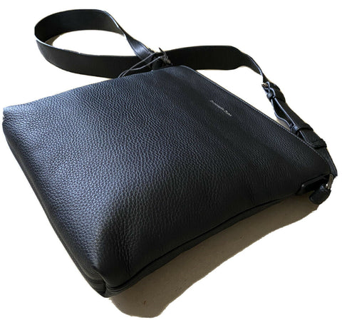 New $895 Ermenegildo Zegna Leather Messenger Bag Black Italy