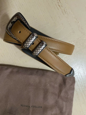 New $610 Bottega Veneta Mens Leather Belt 509418 Brown 90/36 Italy