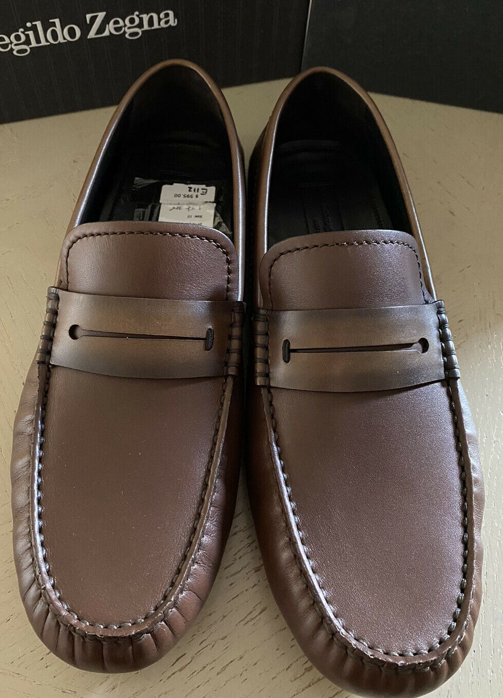 New $595 Ermenegildo Zegna Leather Driver Shoes MD Brown 11 US ( 44 Eu ) Italy