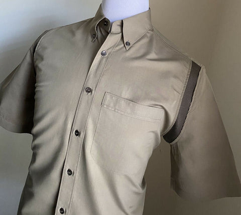 New $630 Salvatore Ferragamo Men's Short Sleeve Shirt Olive L Italy