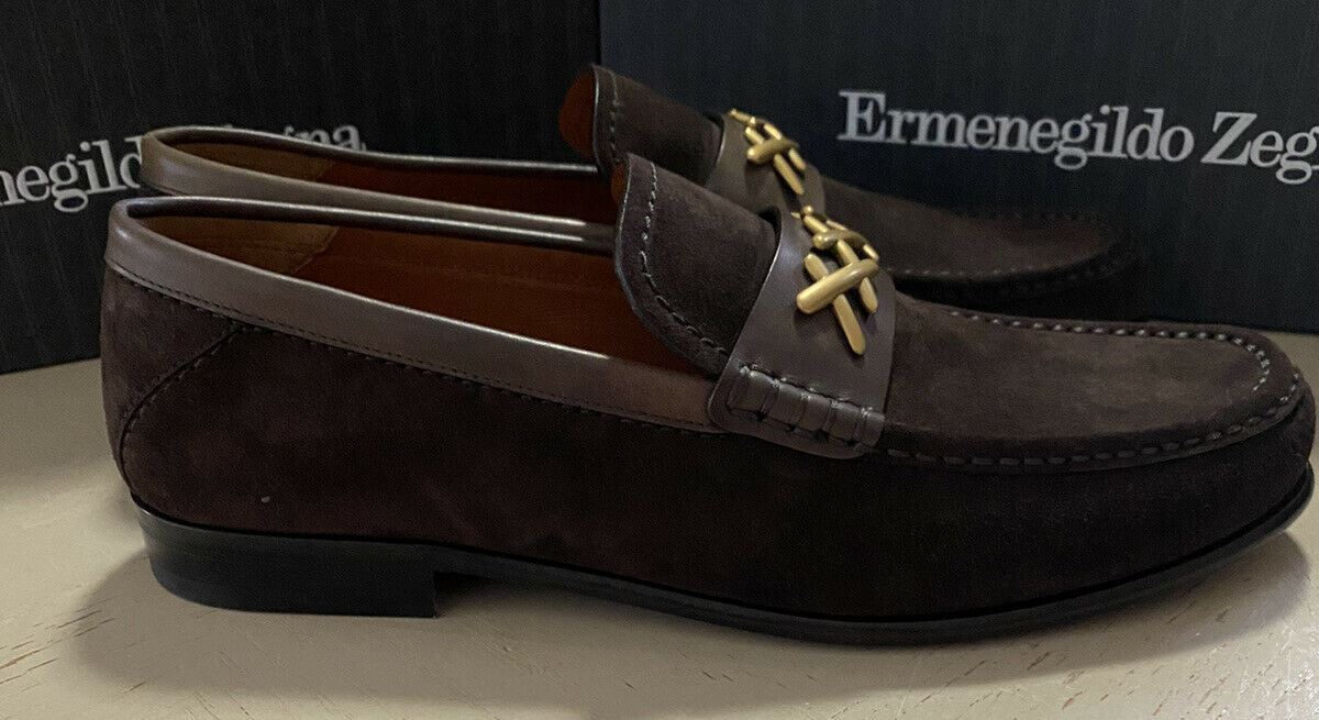 New $695 Ermenegildo Zegna Couture Suede/Leather Loafers Shoes DK Brown 7.5 US