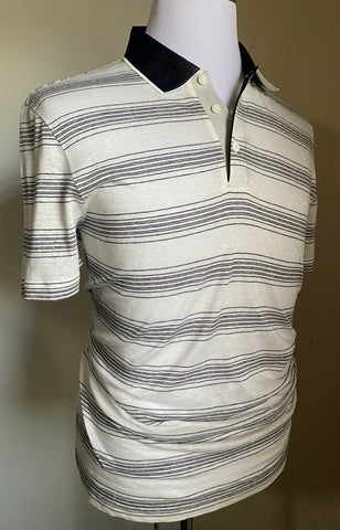 NWT $550 Salvatore Ferragamo Men Short Sleeve Polo Shirt White/Black L Italy