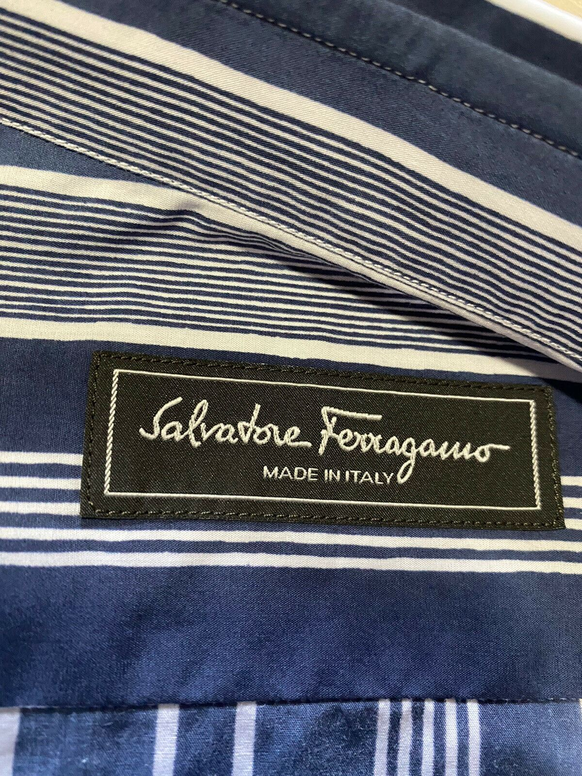 New $490 Salvatore Ferragamo Men Slim Fit Long Sleeve Shirt Blue S Italy