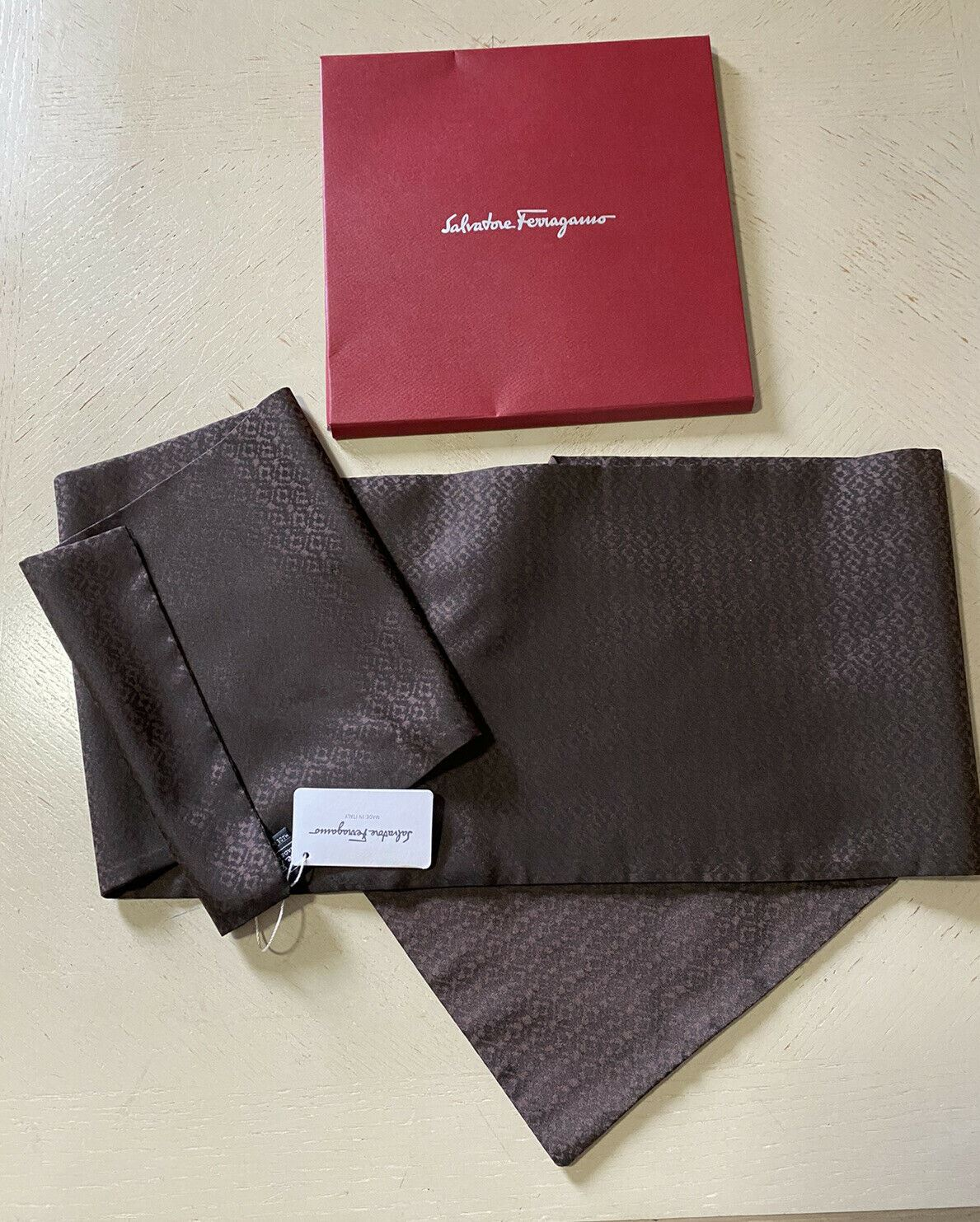NWT Salvatore Ferragamo Men's Silk Scarf Brown/Black Made In Italy