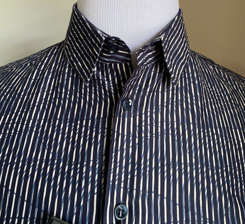 NWT $675 Giorgio Armani Mens Short Sleeve Shirt Blue 40/15 3/4 Italy