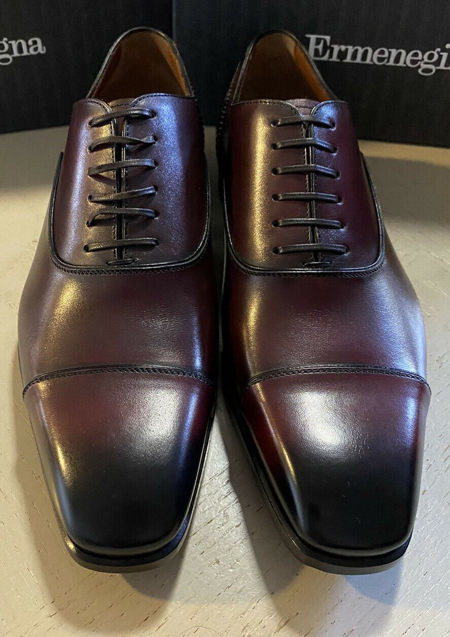 New $895 Ermenegildo Zegna Couture Oxford Leather Shoes Burgundy 9.5 US Italy