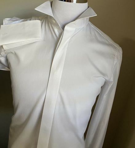 NWT $720 Cesare Attolini Mens Tuxedo Dress Shirt White 39/15.5 Italy