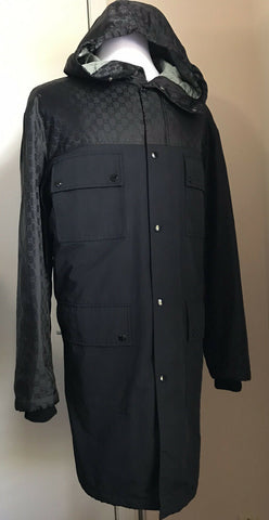 New $2845 Gucci Men Nylon Jacquard GG Trench Coat Coat Black 42R US ( 52R Eu )