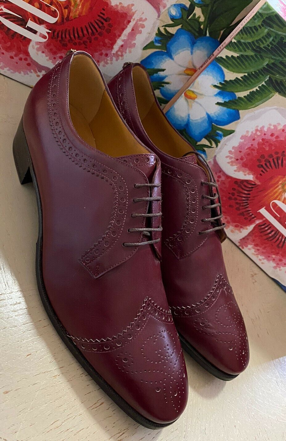 New $980 Gucci Mens Oxford Shoes Burgundy 9.5 US ( 8.5 UK ) Italy