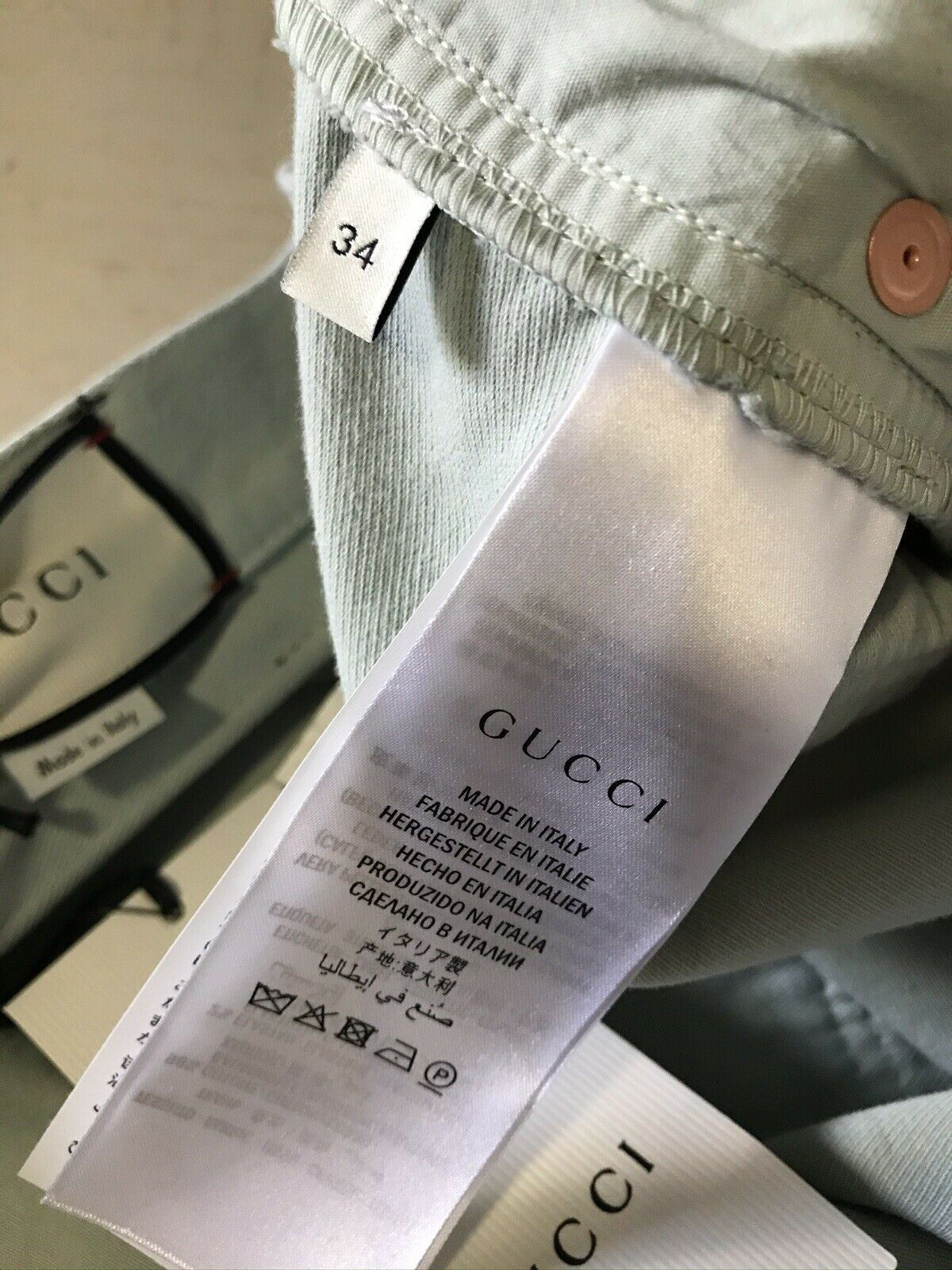 New $950 Gucci Men Dyed Cotton Jeans Pants LT Blue 34 US Made in Italy
