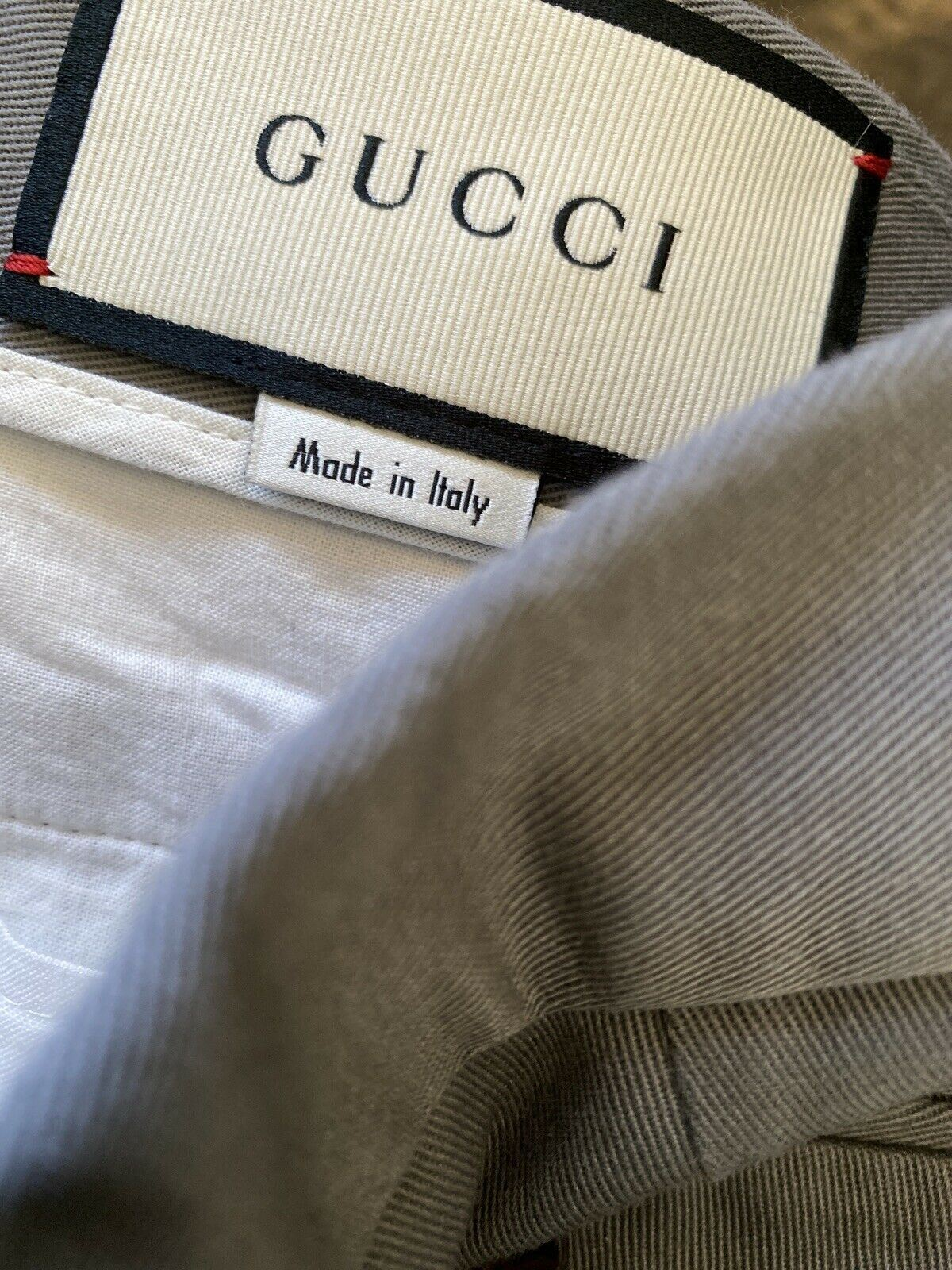 New $745 Gucci Men Military Cotton Pants Gray 30 US ( 44 Eu ) Made in Italy