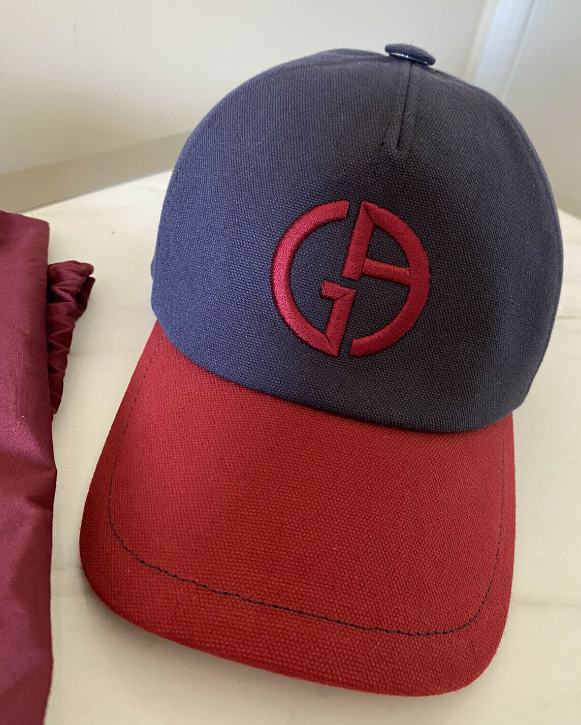 NWT $545 Giorgio Armani Limited Edition Truker Hat Blue/Red Size 60 ( L )Italy