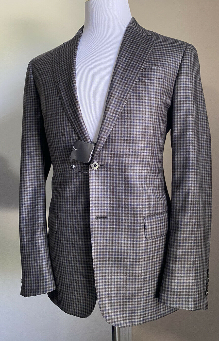 NWT $1495 Emporio Armani Super 130S Wool Blazer Jacket Brown/Blue 38R US/48R Eu