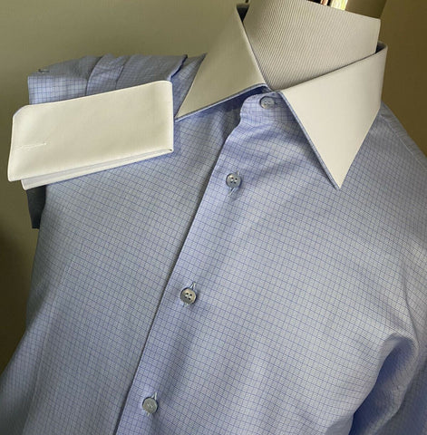 NWT $1705 Stefano Ricci Mens  Dress Shirt Blue 46/18 ( XXXL ) Italy