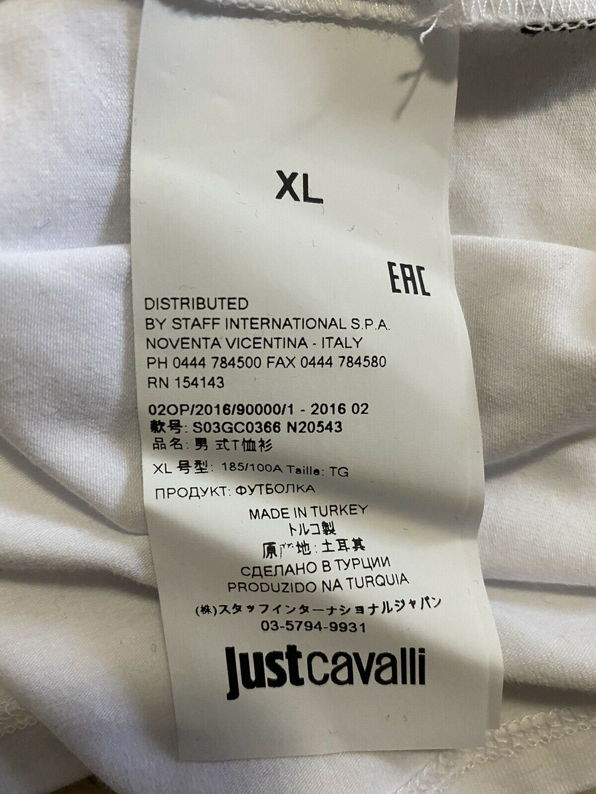 New Just Cavalli Mens Short Sleeve T Shirt White Size L US ( XL Eu )