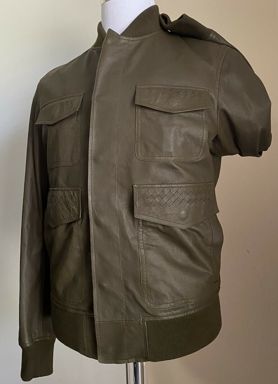 New $4700 Bottega Veneta Mens Leather Jacket Coat Green 38 US ( 48 Eu ) Italy